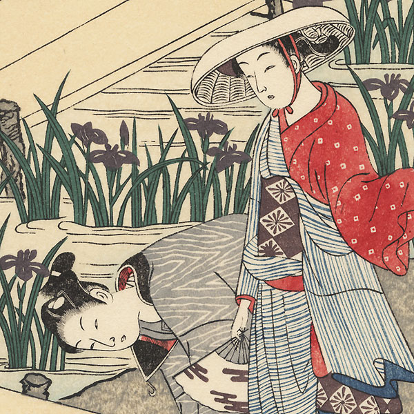 Young Couple in an Iris Garden by Harunobu (1724 - 1770)