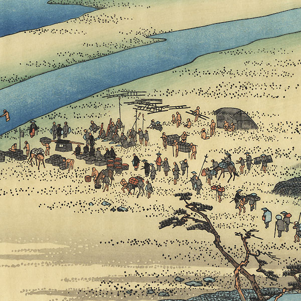 The Suruga Bank of the Oi River near Shimada by Hiroshige (1797 - 1858)