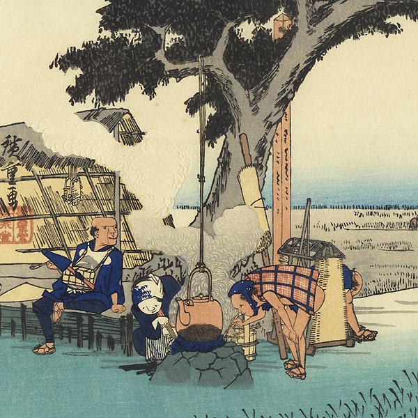 Outdoor Tea Stall at Fukuroi by Hiroshige (1797 - 1858)
