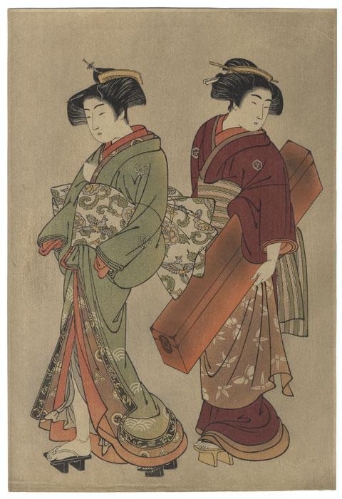 Geisha and Maid Carrying a Shamisen Box by Shigemasa (1739 - 1820)