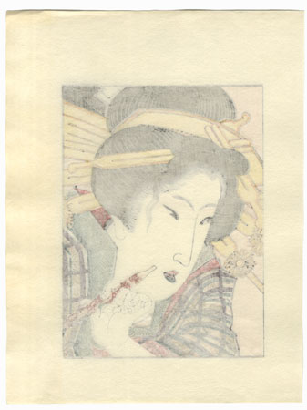 Beauty with a Pipe by Edo era artist (unsigned)
