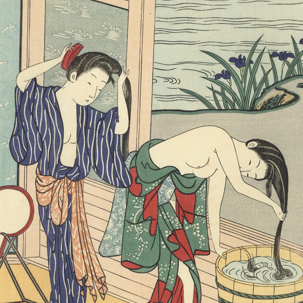 Beauties Washing Hair by Harunobu (1724 - 1770)