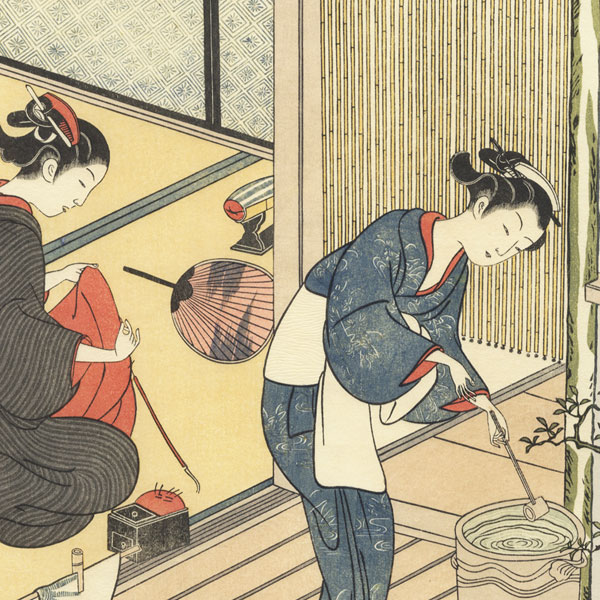Returning Sails of the Towel Rack  by Harunobu (1724 - 1770)