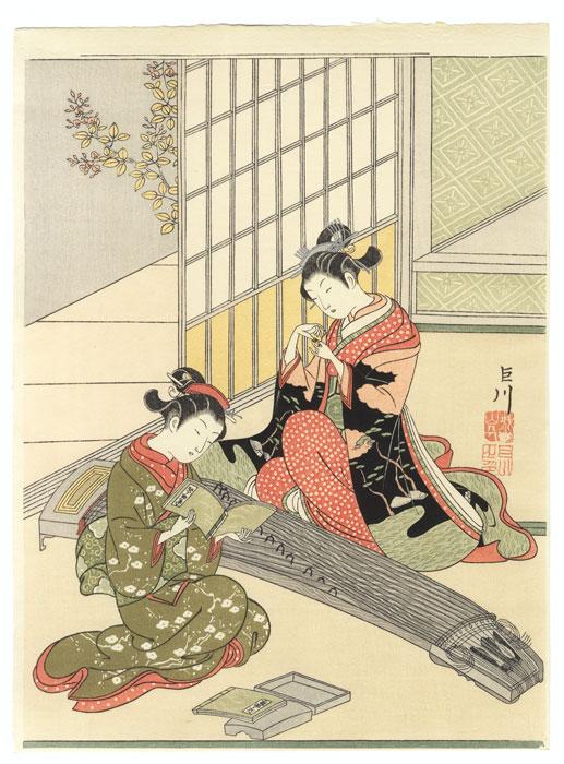 Descending Geese of the Koto Bridges by Harunobu (1724 - 1770)