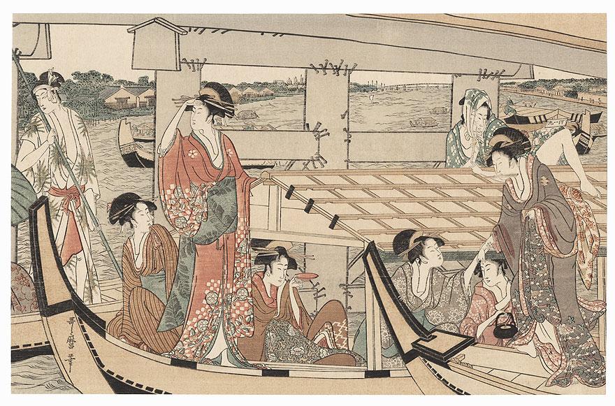 Beneath Ryogoku Bridge by Utamaro (1750 - 1806)