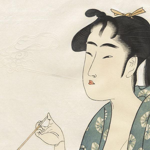 Beauty Smoking by Utamaro (1750 - 1806)