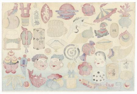 Lucky Gods Daikoku and Ebisu Toy Print by Meiji era artist (unsigned)