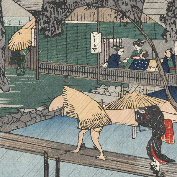 Evening Shower Along the Tadasu River  by Hiroshige (1797 - 1858)