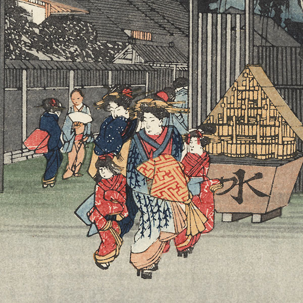 The Willow Tree at the Exit from the Shimabara Quarter  by Hiroshige (1797 - 1858)