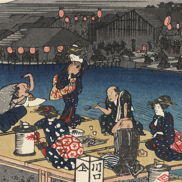 Enjoying the Cool of Evening on the Riverbed at Shijo by Hiroshige (1797 - 1858)