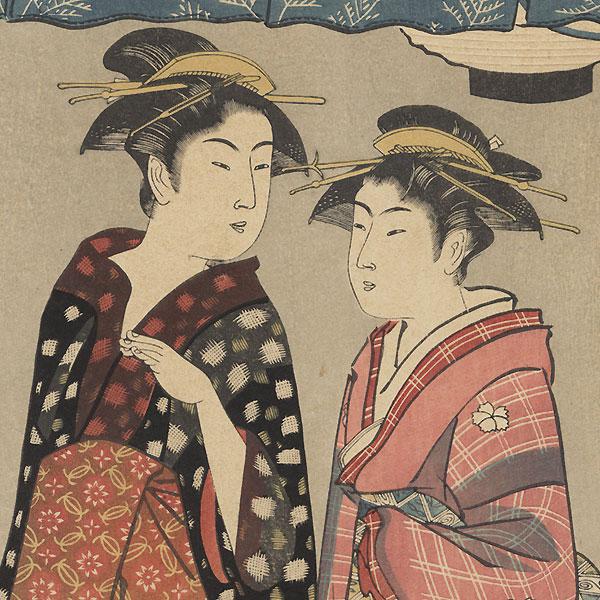 Enjoying the Cool Air at Nakasu by Kiyonaga (1752 - 1815)
