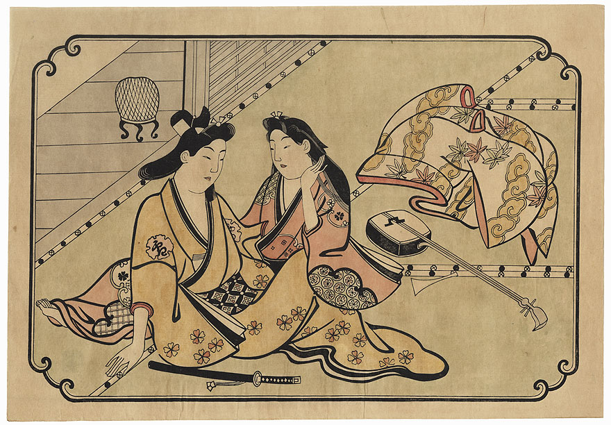 A Young Man Dallying with a Courtesan by Moronobu (1618 - 1694)