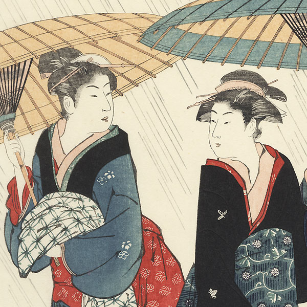 Beauties in the Rain by Kiyonaga (1752 - 1815)