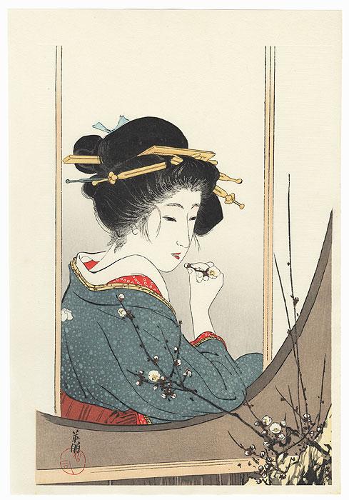 Plum Window Kuchi-e Print by Eiho Hirezaki (1881 - 1970)