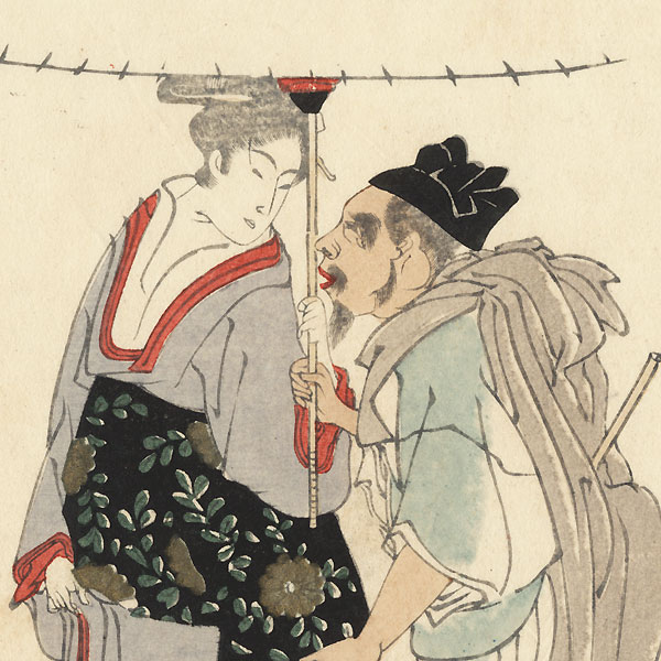 Ebisu Sharing an Umbrella with a Beauty in the Snow Surimono by Toyohiro (1773 - 1828)