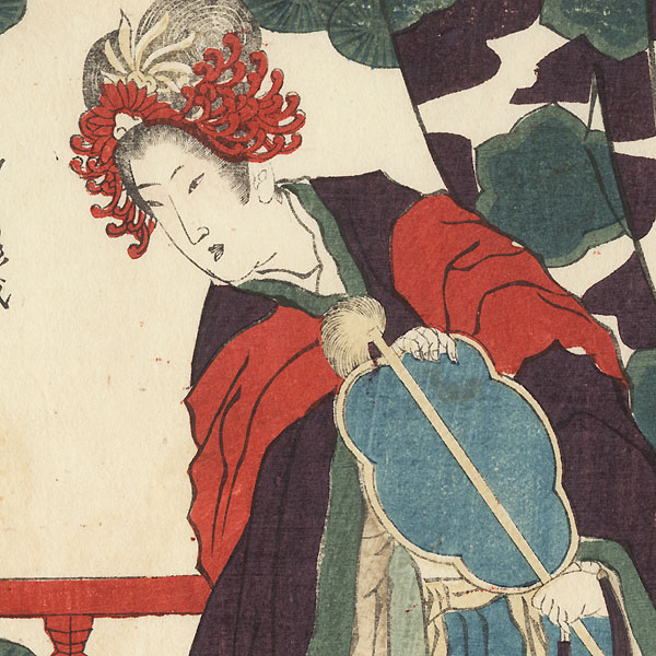 Woman Examining a Spider Web in a Box Surimono by Gakutei (1786 - 1868)