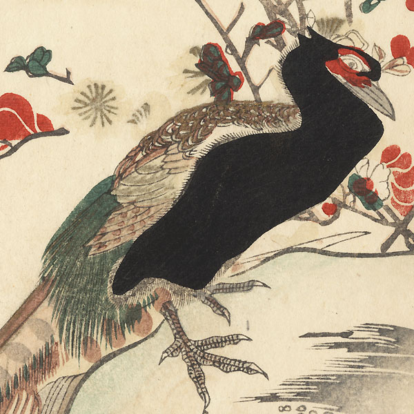 Pheasants and Peach Blossoms Surimono by Shunman (1757 - 1820)