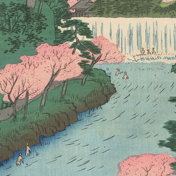 Dam on the Otonashi River at Oji, Popularly Known as The Great Waterfall by Hiroshige (1797 - 1858)