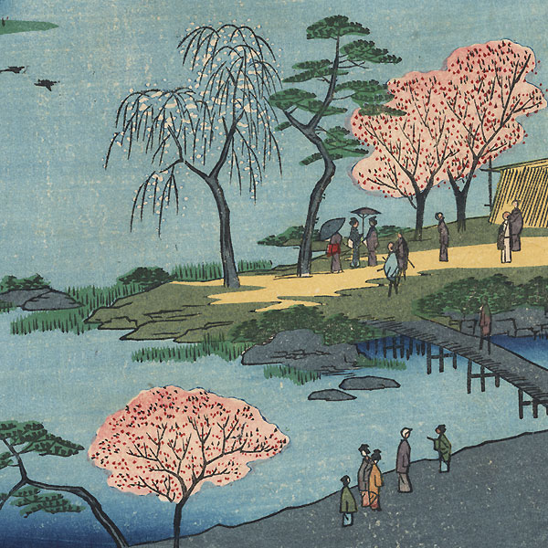 Open Garden at Fukagawa Hachiman Shrine by Hiroshige (1797 - 1858)