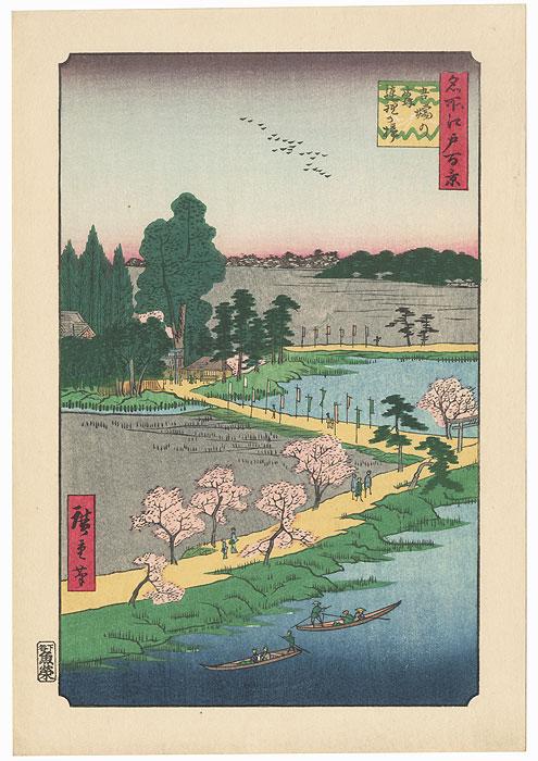 Azuma Shrine and the Entwined Camphor by Hiroshige (1797 - 1858)