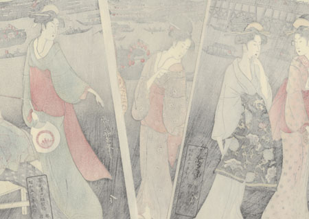 Enjoying the Evening Cool on the Banks of Sumida River by Utamaro (1750 - 1806)