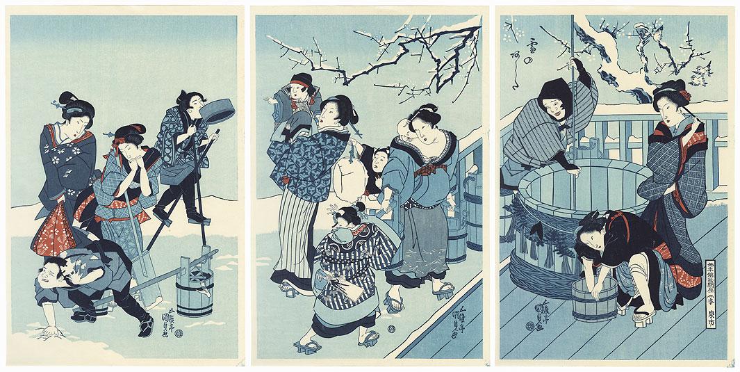 Drawing Water at New Year's by Toyokuni III/Kunisada (1786 - 1864)