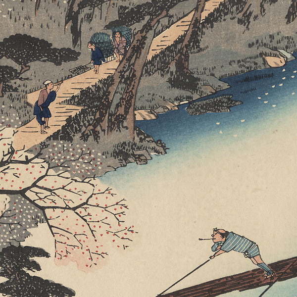 Cherry Trees in Full Bloom at Arashiyama by Hiroshige (1797 - 1858)
