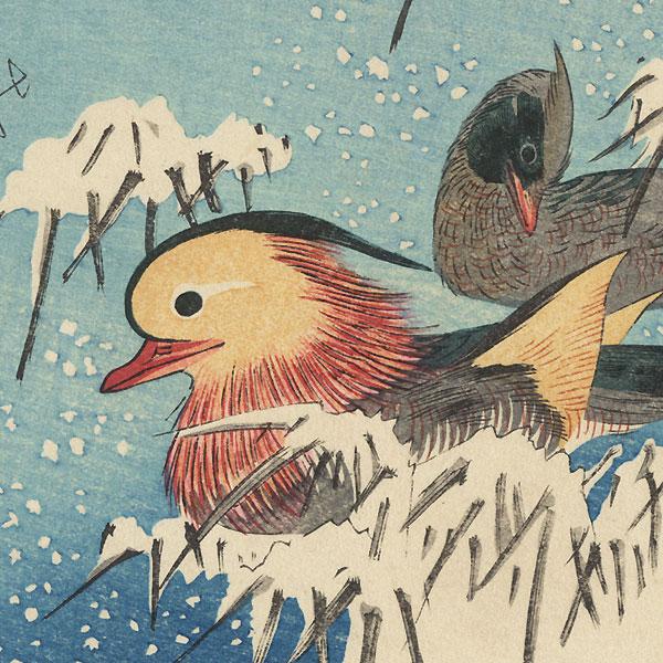 Mandarin Ducks in Snow Fan Print by Hiroshige (1797 - 1858)