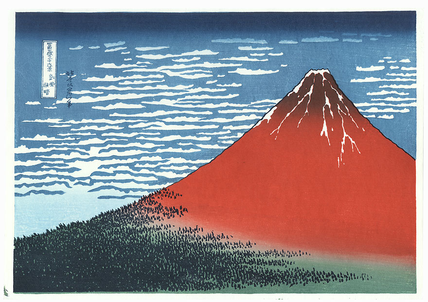 Red Fuji  by Hokusai (1760 - 1849)