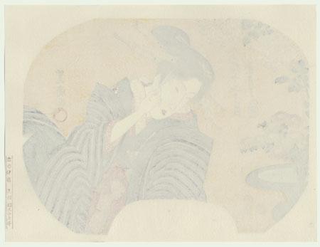 Beauty and Spring Flowers Fan Print by Toyokuni (1769 - 1825)