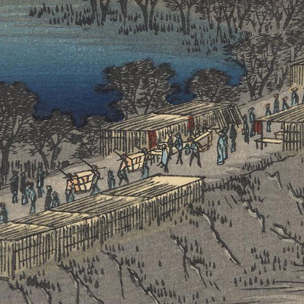 Nihon Embankment, Yoshiwara by Hiroshige (1797 - 1858)