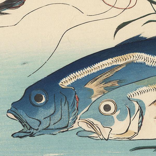 Horse Mackerel, Freshwater Prawns, and Seaweed by Hiroshige (1797 - 1858)