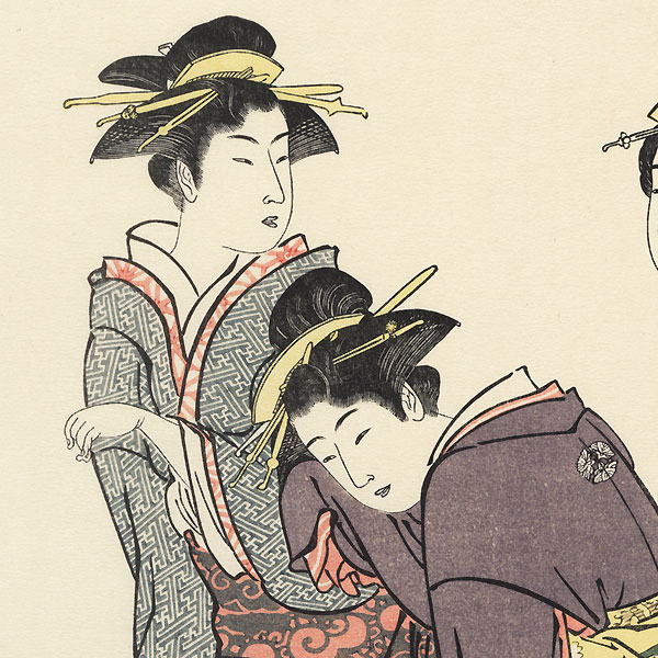 Tachibana Geisha in the Wind by Kiyonaga (1752 - 1815)