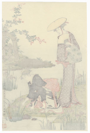 Women by an Iris Pond by Kiyonaga (1752 - 1815)