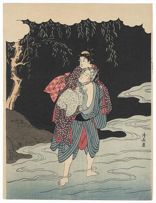 Young Lovers Eloping by Kiyonaga (1752 - 1815)