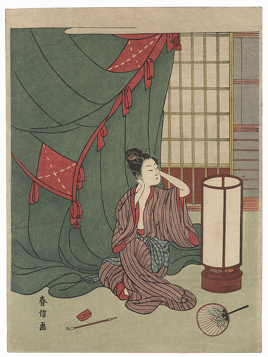 Beauty Frightened by Thunder by Harunobu (1724 - 1770)