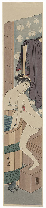 Beauty Climbing into a Bath Pillar Print by Harunobu (1724 - 1770)