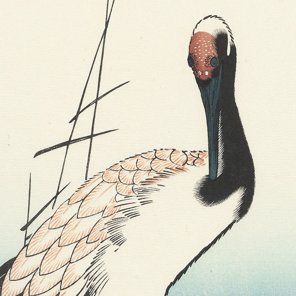 Crane and Waves by Hiroshige (1797 - 1858)