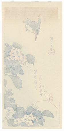 Kingfisher and Hydrangeas by Hiroshige (1797 - 1858)