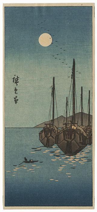 Full Moon at Tsukuda  by Hiroshige (1797 - 1858)