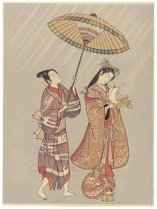 Beauty with Toy Boat by Harunobu (1724 - 1770)