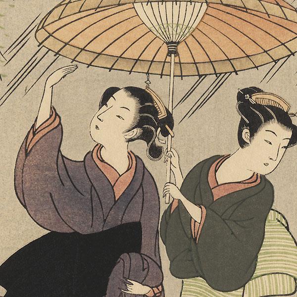 Beauties Sharing an Umbrella by Harunobu (1724 - 1770)
