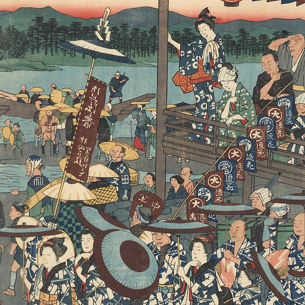 Crossing the Miyagawa to Visit Ise Shrine by Hiroshige (1797 - 1858)