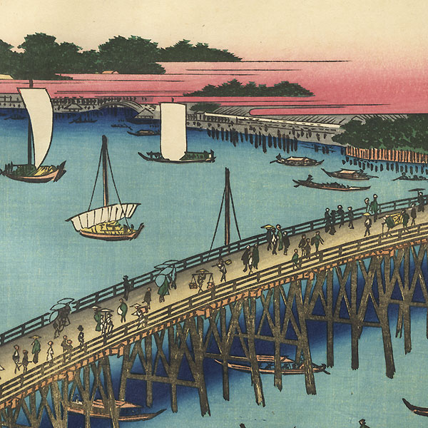 Ryogoku Bridge and the Great Riverbank by Hiroshige (1797 - 1858)