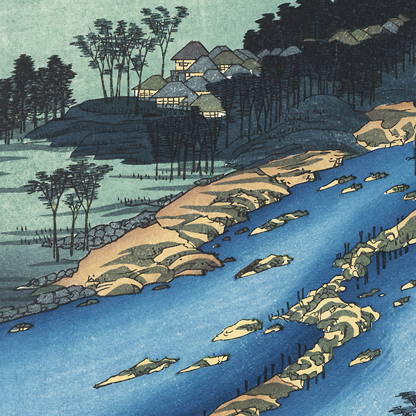 Chikugo Province, The Currents Around the Weir by Hiroshige (1797 - 1858)