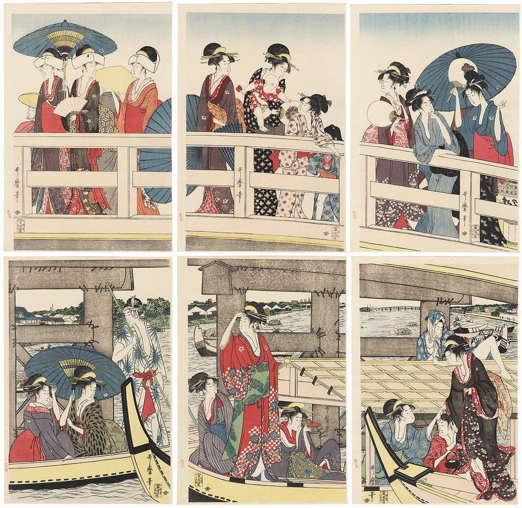 On Top and Beneath Ryogoku Bridge  by Utamaro (1750 - 1806)
