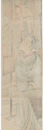 Courtesan and Lover through a Window by Koryusai (1735 - 1790)