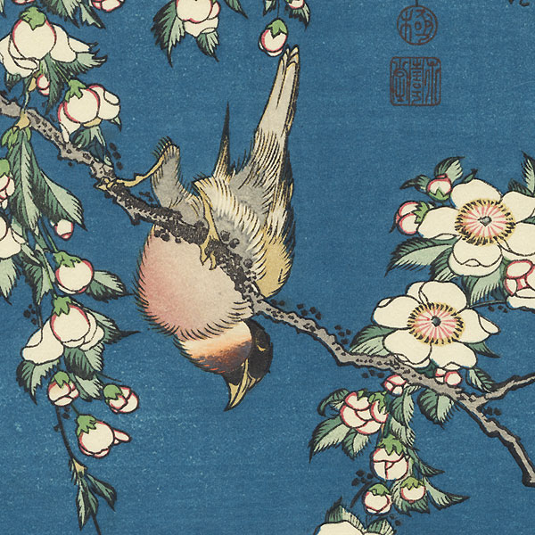 Bullfinch and Weeping Cherry by Hokusai (1760 - 1849)