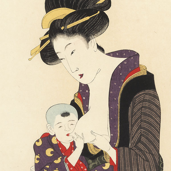 Mother Nursing Her Child by Utamaro (1750 - 1806)