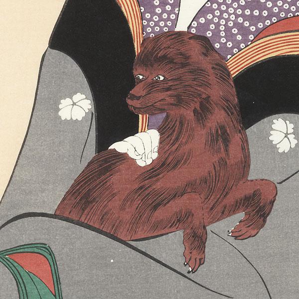 Beauty and Dog  by Utamaro (1750 - 1806)